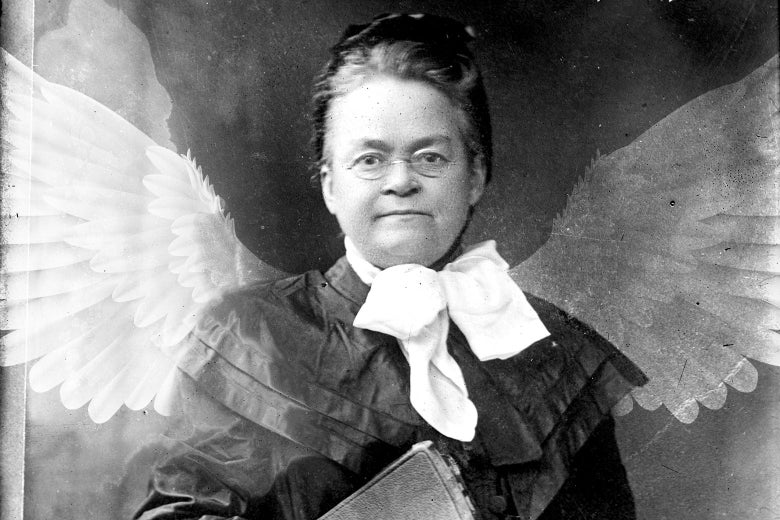 Carrie Nation's official portrait, with angel wings.