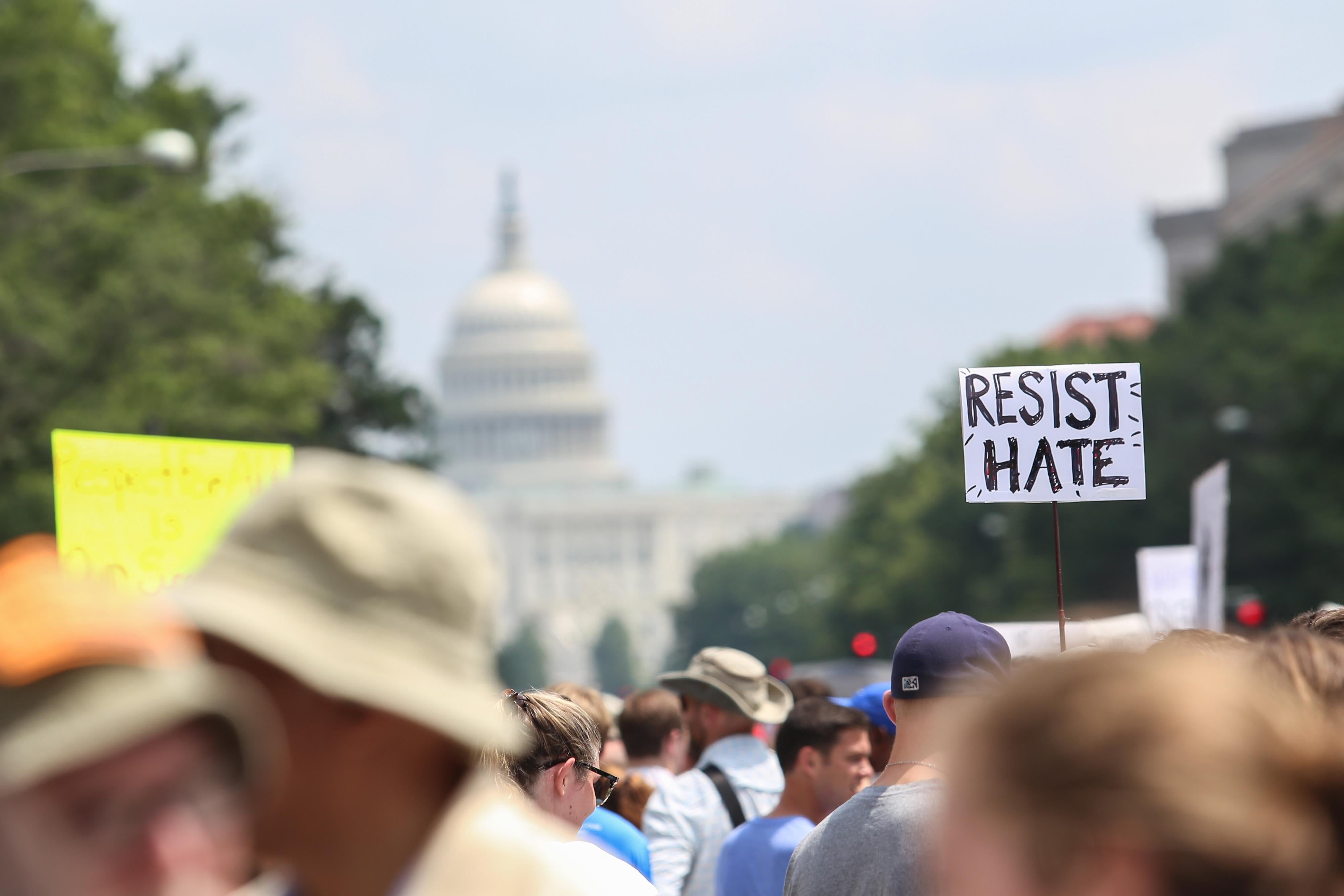 Counter-protesters gather at Freedom Plaza before the Unite the Right rally in Lafayette Park on August 12, 2018 in Washington, D.C.
