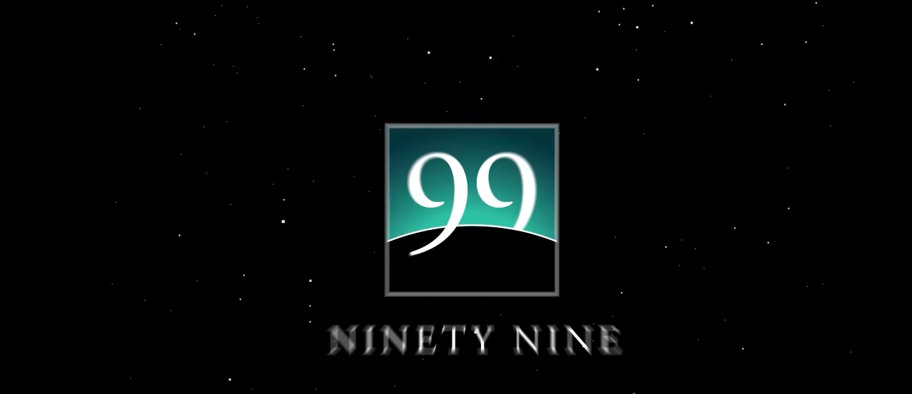 "The words ""NINETY NINE"" under a black and turquoise box."