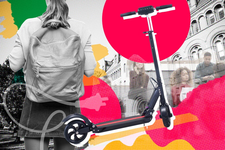 Photo illustration: A college student walks while carrying a backpack; an image of a dockless scooter is superimposed on top of a colorful collage depicting college life.
