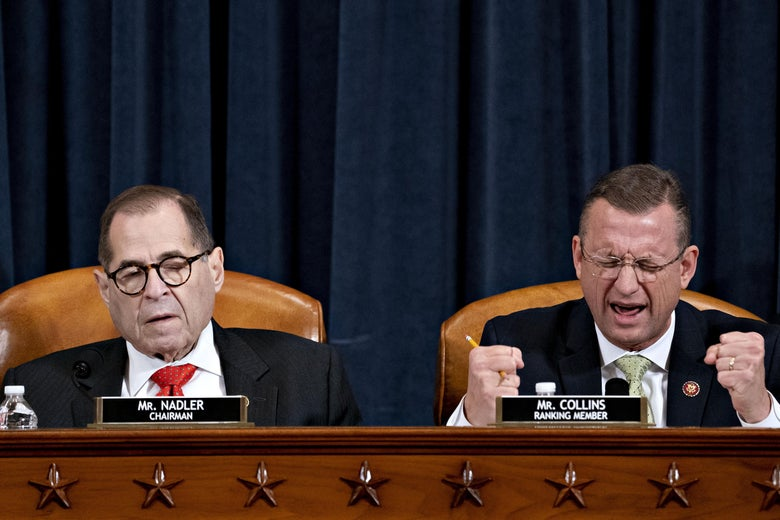 Jerry Nadler closes his eyes, mouth agape, as Doug Collins, seated to his right, closes his eyes, speaks, and makes fists.