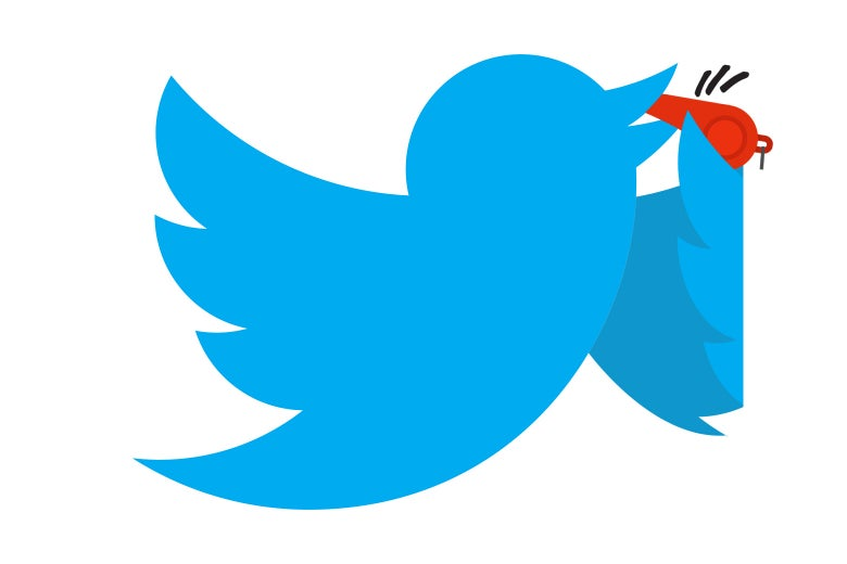 Twitter bird blowing the whistle.