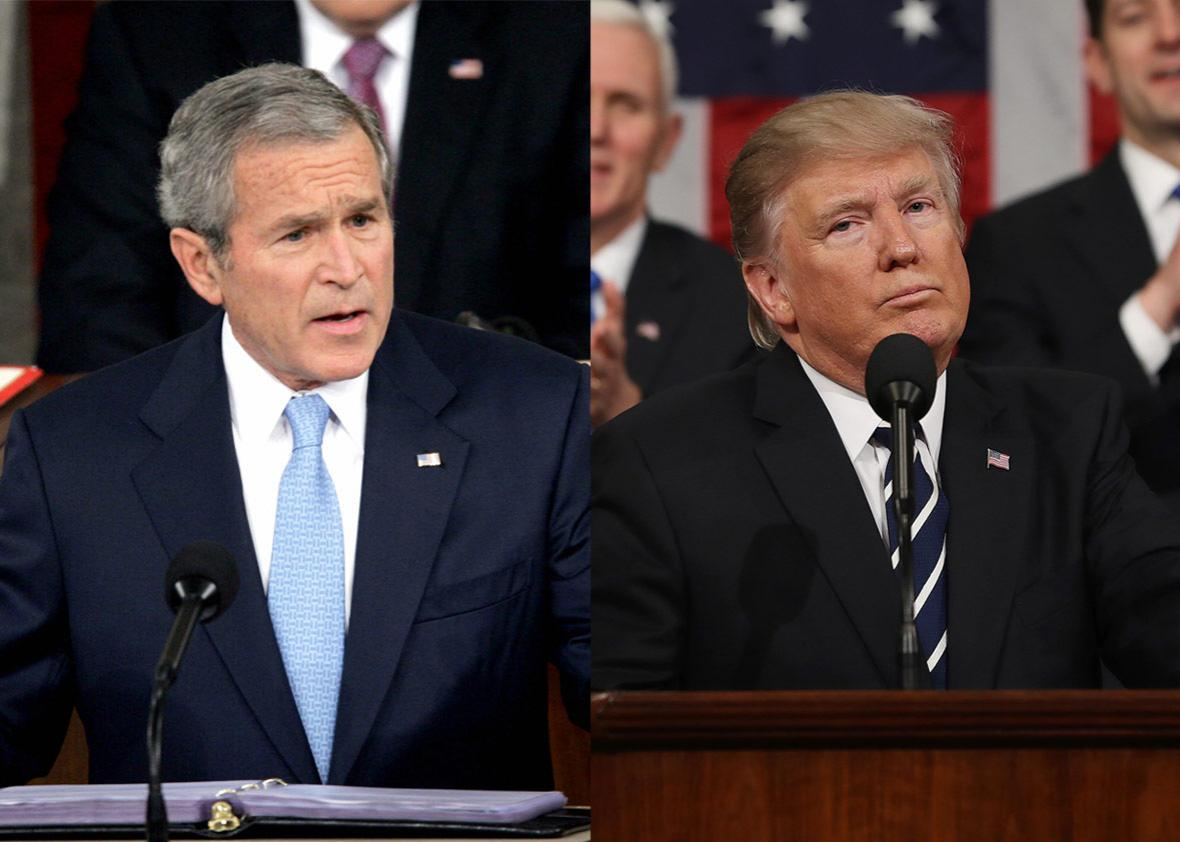 US Presidents George W. Bush and  Donald J. Trump
