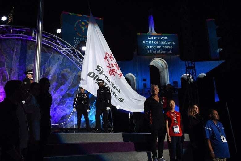 The Special Olympics flag is raised at the opening ceremony of the 2015 Special Olympics World Games.