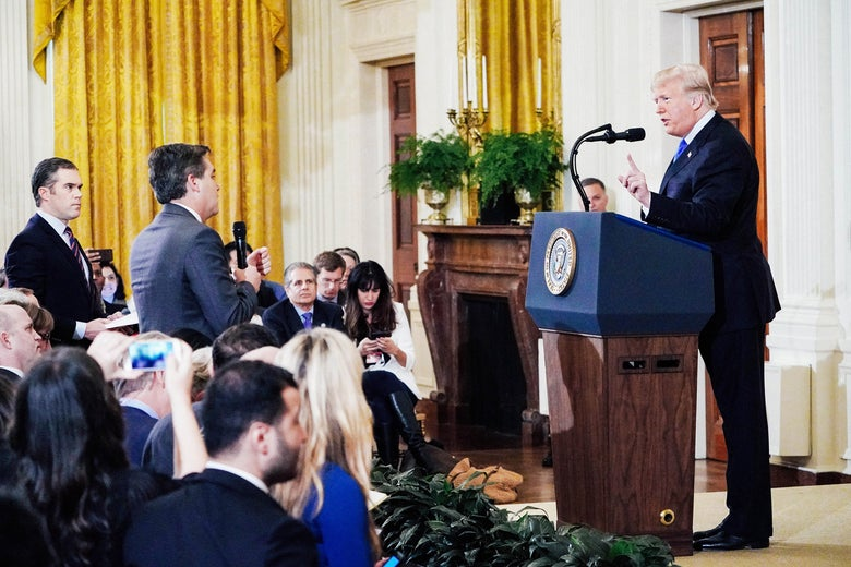 Donald Trump pointing to Jim Acosta, the CNN reporter, during a press conference in the White House.