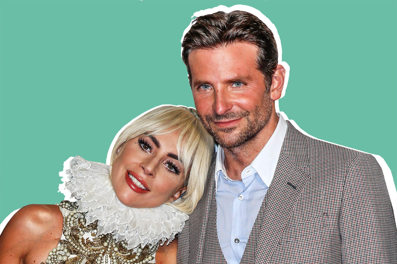 Lady Gaga rests her head on Bradley Cooper's shoulder.