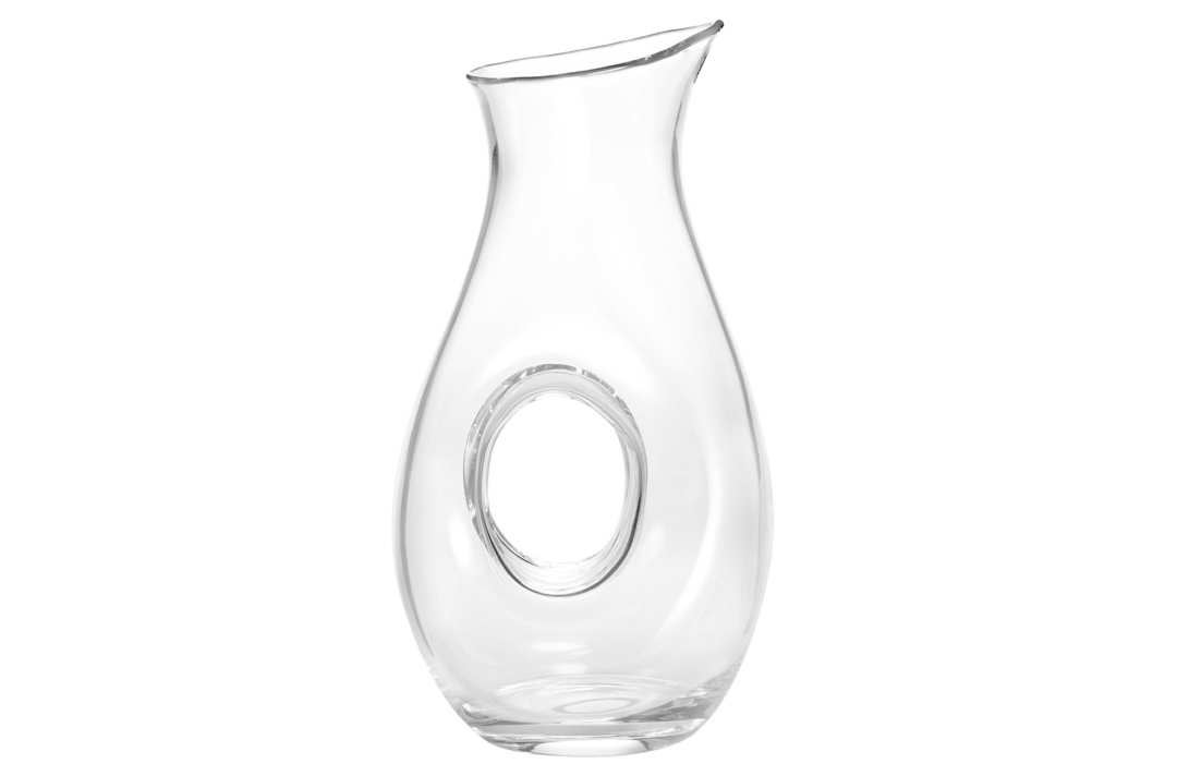 Glass decanter with a hole in the middle.
