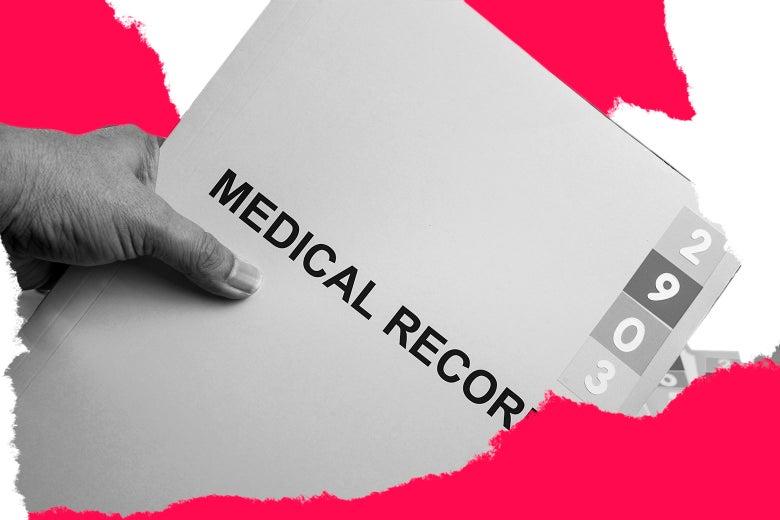 A folder of medical records.