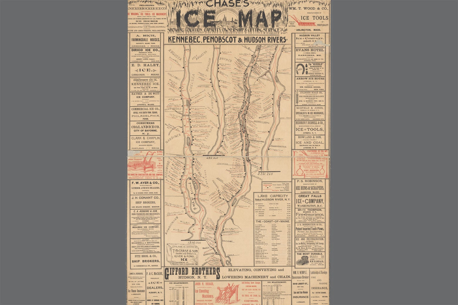 """Chase's ice map, showing location, capacity, ownership & cutting surface of the Kennebec, Penobscot & Hudson rivers."" T.B. Chase & Son, 1894.  New York Public Library Digital Collections"
