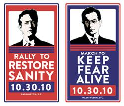 Stewart and Colbert rally posters.