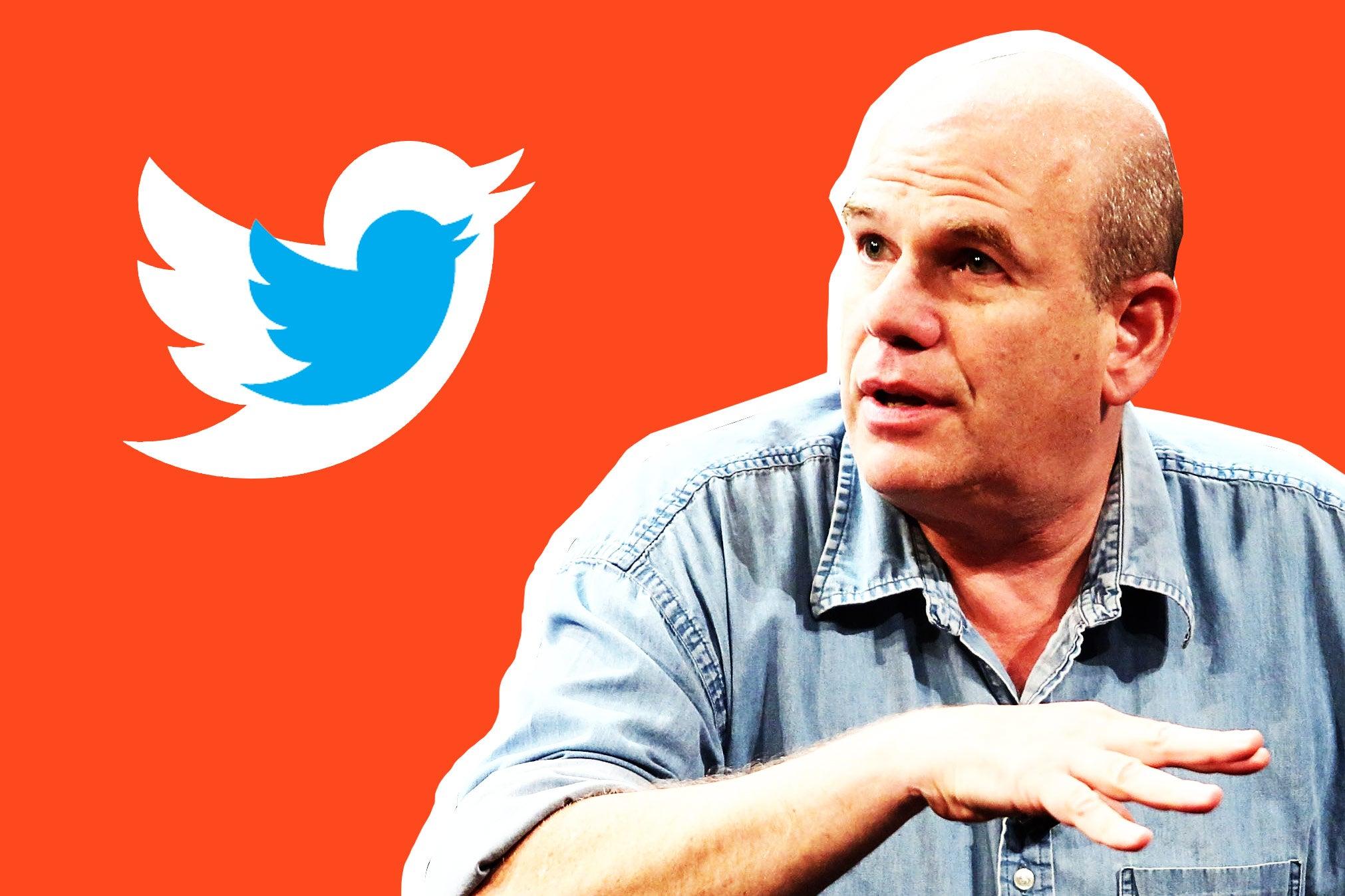David Simon next to the Twitter logo.