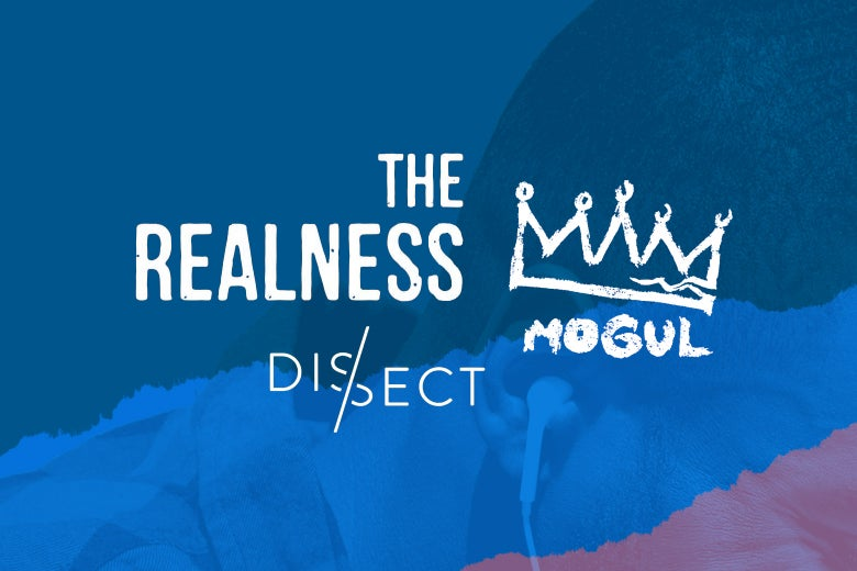 Logos for The Realness, Mogul, and Dissect podcasts over a photo of a man listening to headphones.