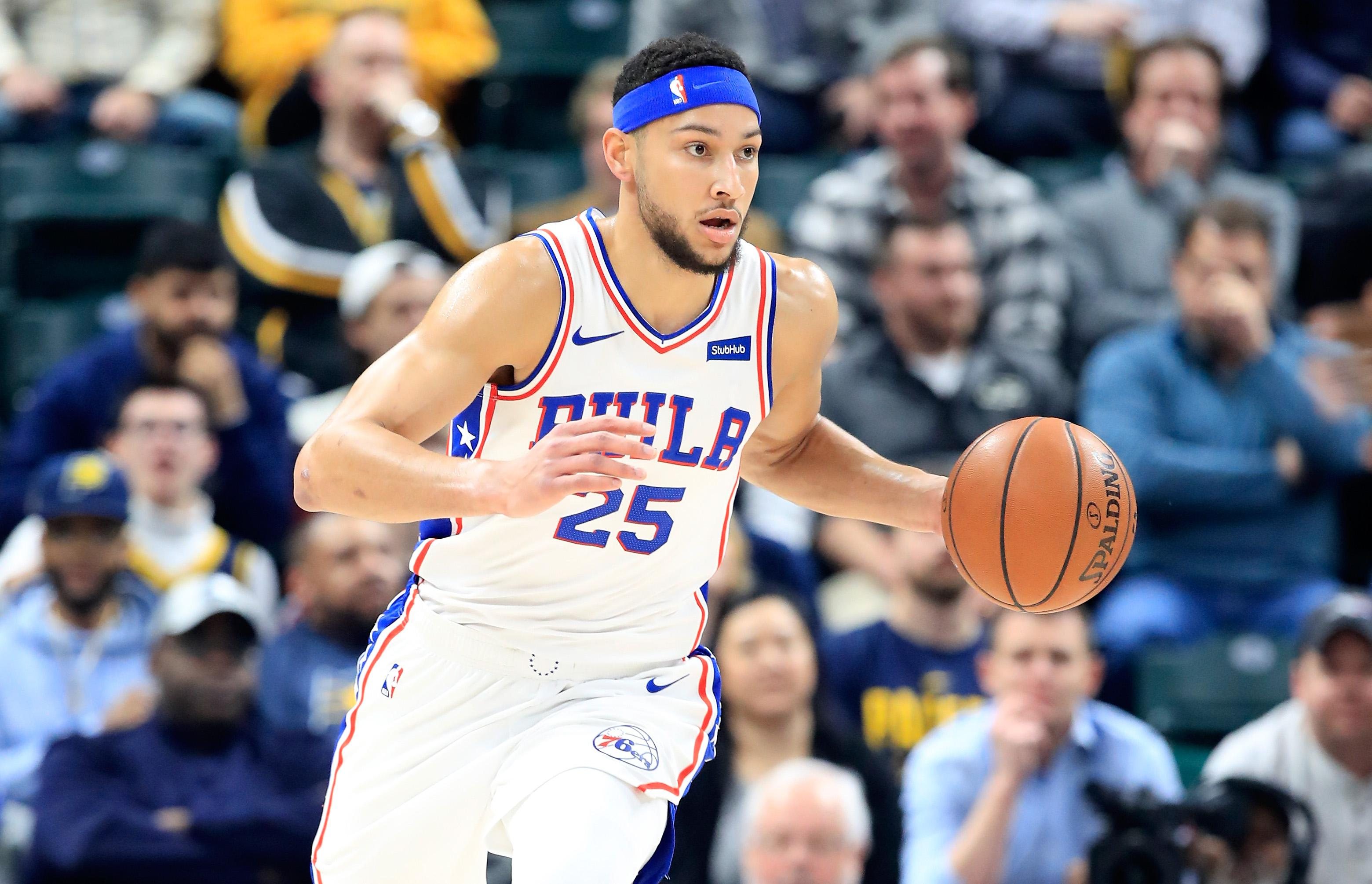 INDIANAPOLIS, IN - JANUARY 17:  Ben Simmons #25 of the Philadelphia 76ers dribbles the ball against the Indiana Pacers at Bankers Life Fieldhouse on January 17, 2019 in Indianapolis, Indiana.   NOTE TO USER: User expressly acknowledges and agrees that, by downloading and or using this photograph, User is consenting to the terms and conditions of the Getty Images License Agreement.  (Photo by Andy Lyons/Getty Images)