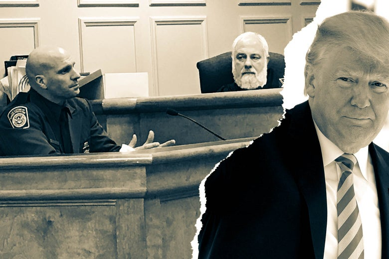 A photo collage, featuring an image of Judge Thomas Rappa and a CBP agent in a courtroom, and a photo of Donald Trump.