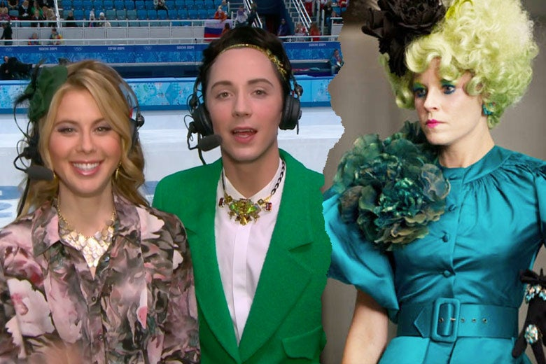 Left: Johnny Weir wears a green suit. Right: Elizabeth Banks as Effie Trinket wears an all-green ensemble with green-tipped hair.