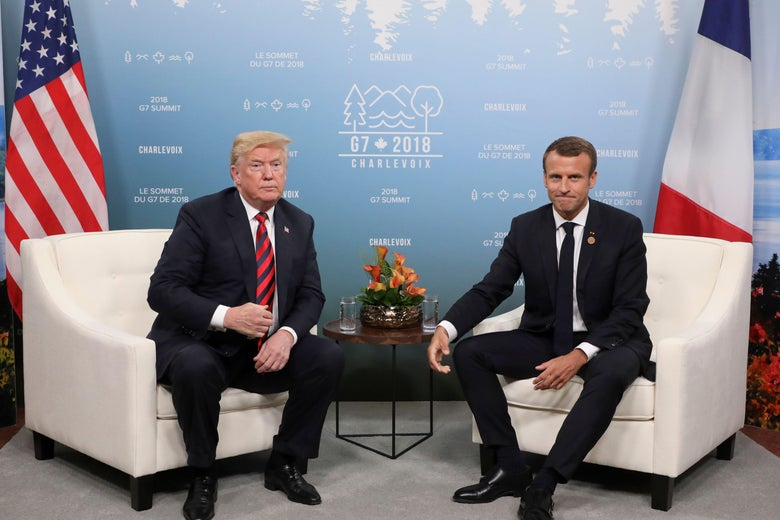 President Donald Trump and French President Emmanuel Macron hold a meeting on the sidelines of the G7 Summit in Charlevoix, Quebec, Canada, June 8, 2018.
