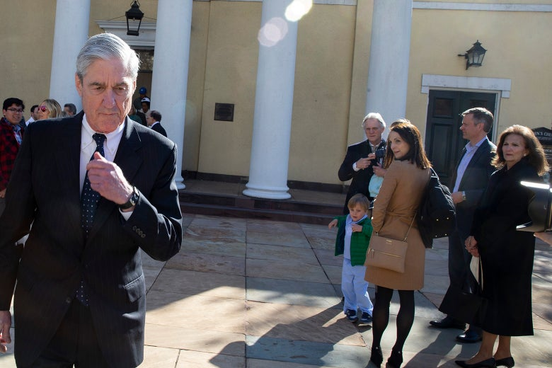 Robert Mueller leaves church, causing another person to turn and stare, in an image that echoes the distracted boyfriend meme.