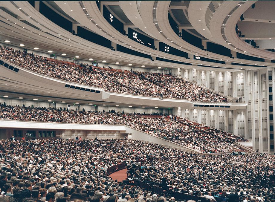 The LDS conference center in use during General Conference in October 2012. The building can hold 21,000 people at a time and is used by the Mormon Tabernacle Choir when not in use during conference.