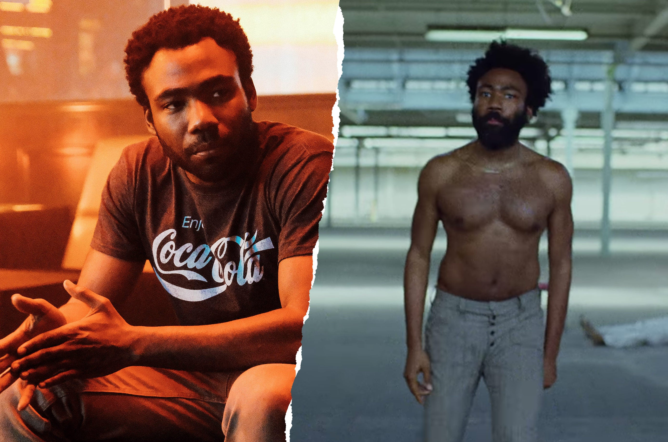 "Donald Glover in Atlanta and a screenshot of the video for ""This is America."""