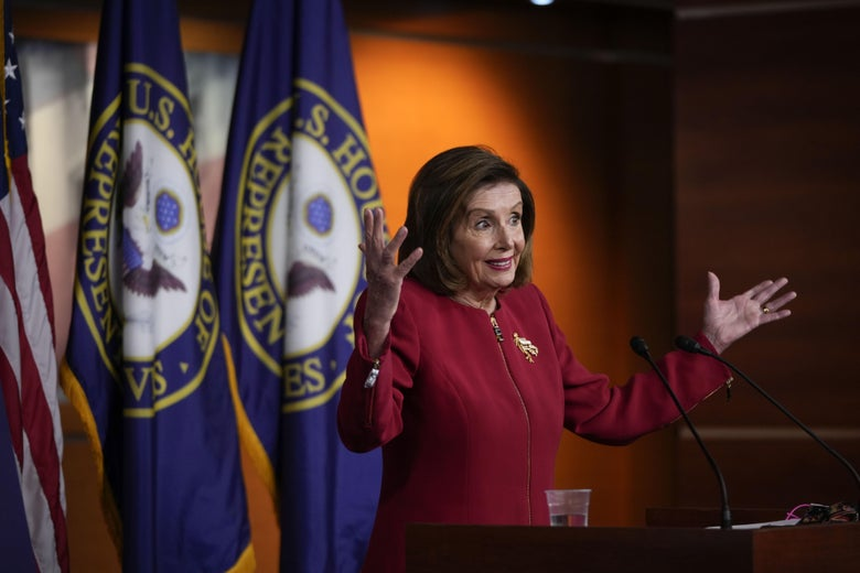 Speaker of the House Nancy Pelosi speaking during her weekly news conference at the U.S. Capitol on September 8, 2021 in Washington, DC.