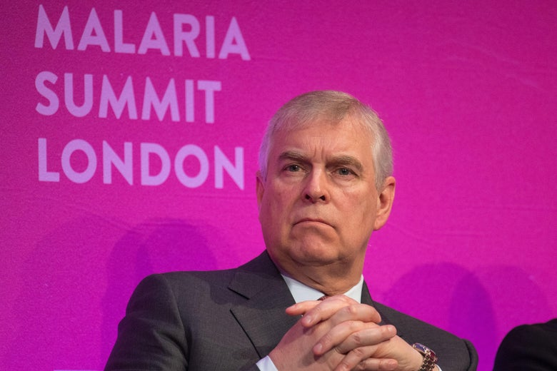 Prince Andrew in front of a backdrop that says Malaria Summit London.