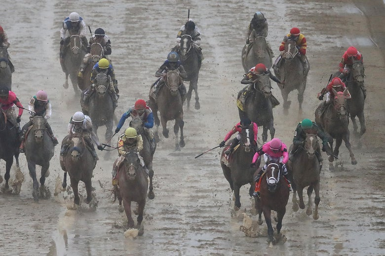 Horses running the Kentucky Derby.