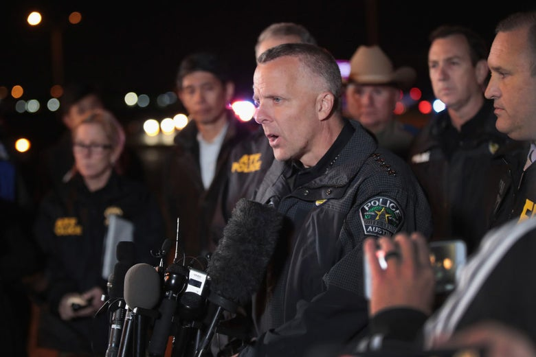 Austin police chief Brian Manley in Round Rock, Texas on Wednesday.