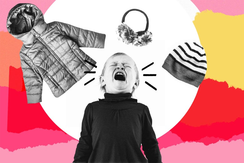 Photo illustration of a young child crying. The child is surrounded by various winter outerwear.