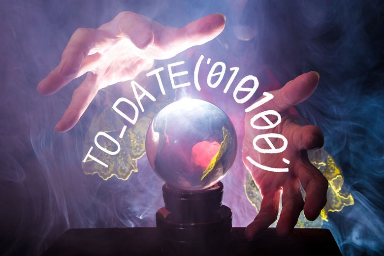 Hands embracing a crystal ball, encircled by a line of y2k code: TO_DATE('010100').