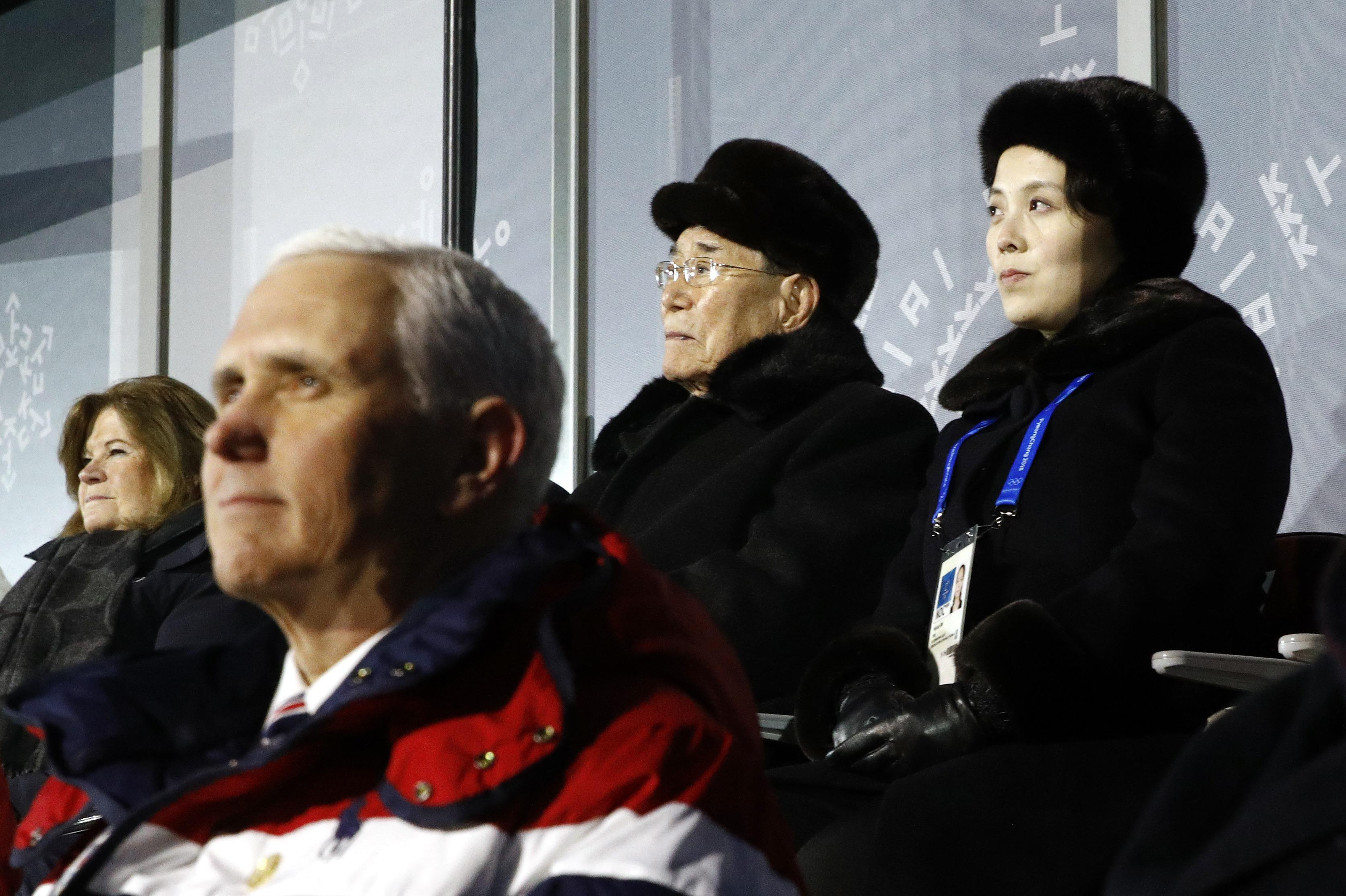 PYEONGCHANG-GUN, SOUTH KOREA - FEBRUARY 09:  Kim Yo Jong, top right, sister of North Korean leader Kim Jong Un, sits alongside Kim Yong Nam, president of the Presidium of North Korean Parliament, and behind U.S. Vice President Mike Pence as she watches the opening ceremony of the 2018 Winter Olympics at PyeongChang Olympic Stadium on February 9, 2018 in Pyeongchang-gun, South Korea.  (Photo by Patrick Semansky - Pool /Getty Images)