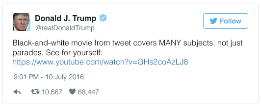 Black-and-white movie from tweet covers MANY subjects, not just parades.