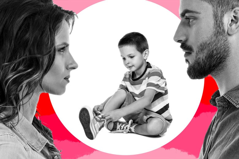 A mother and father facing off, with a young boy between them tying his shoe.