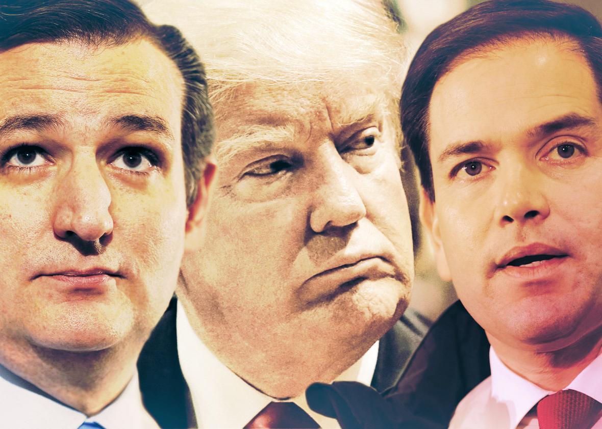 Ted Cruz, Donald Trump, Marco Rubio