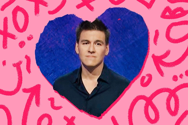 James Holzhauer in a heart with doodles around it.