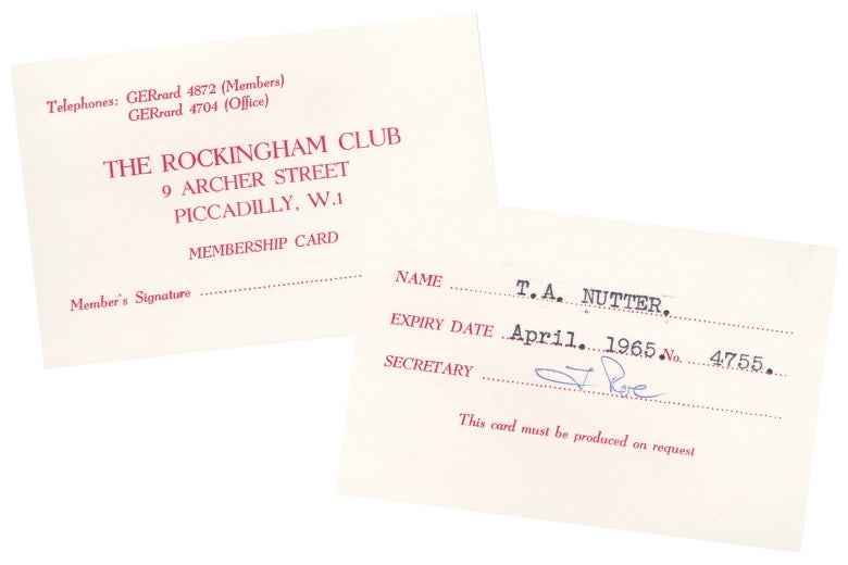 Rockingham Club membership card.
