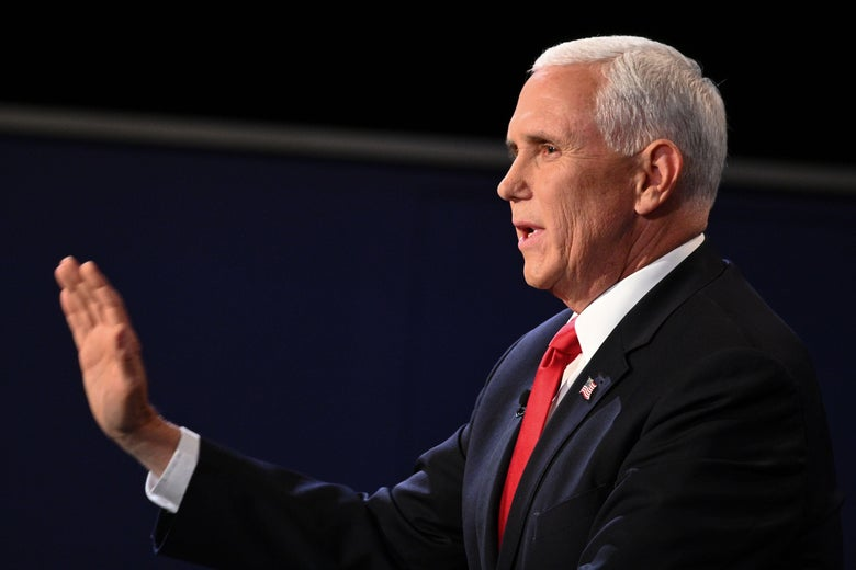 Mike Pence with his hand out