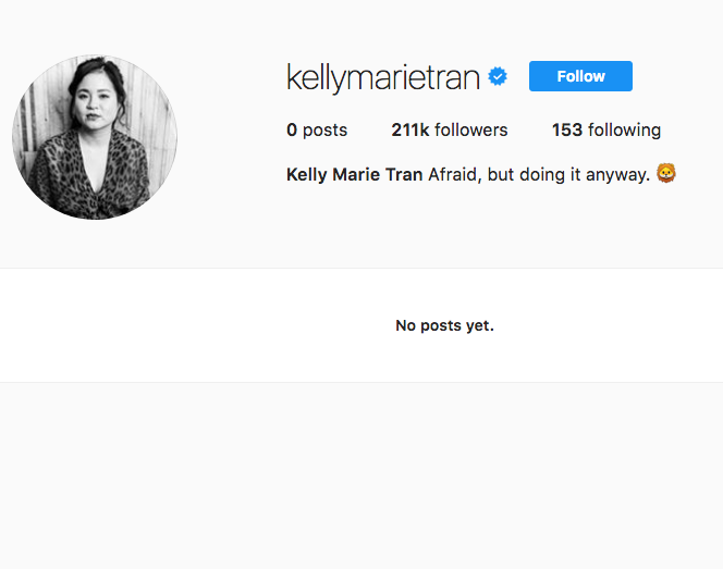 "A screenshot of Kelly Marie Tran's Instagram page. It is blank, and says ""no posts yet."""