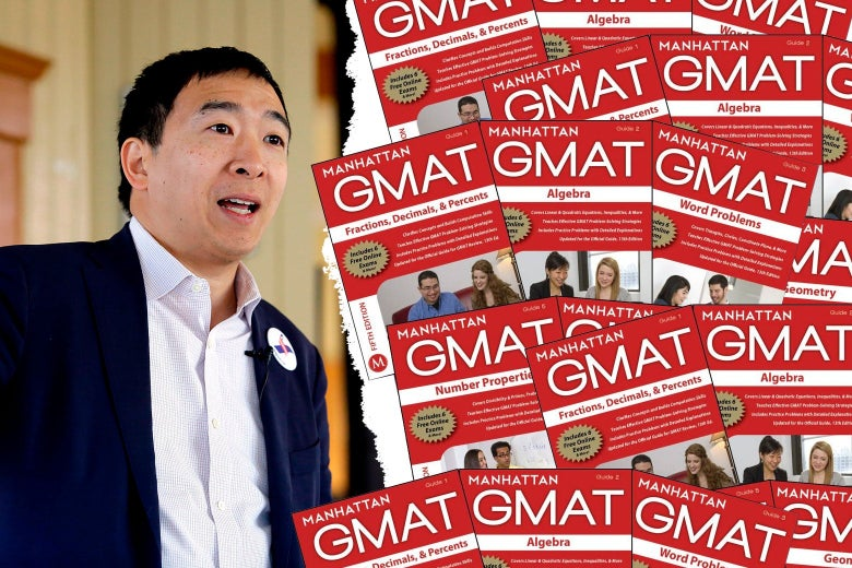 Andrew Yang and Manhattan Prep GMAT book covers.
