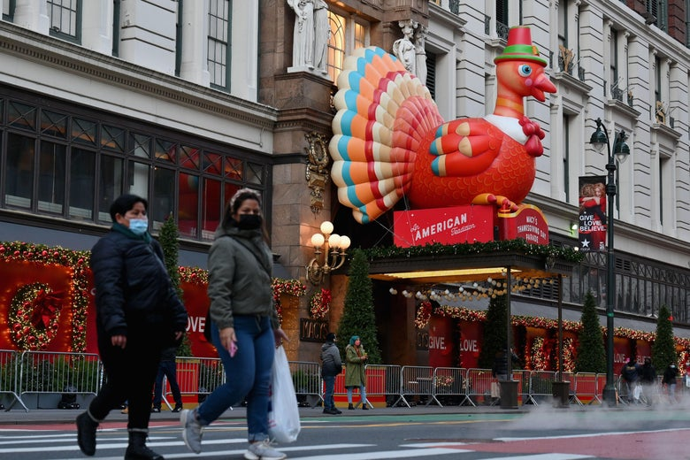 Thanksgiving turkey decorations at Macy's Herald Square store on November 24, 2020 in New York City.