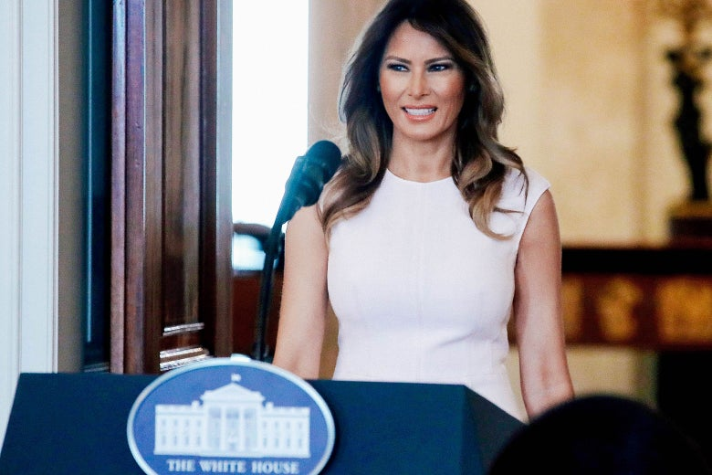 First lady Melania Trump walks into the Blue Room to speak at a luncheon for governors' spouses at the White House on Feb. 26 in Washington.