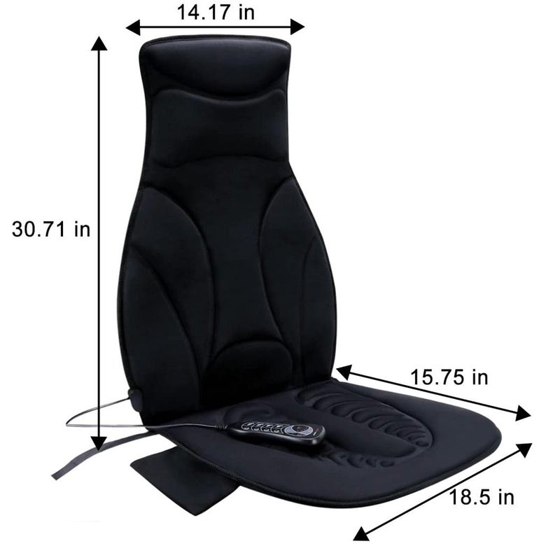 The Relief Expert vibrating massage chair pad, seen with dimension measurements