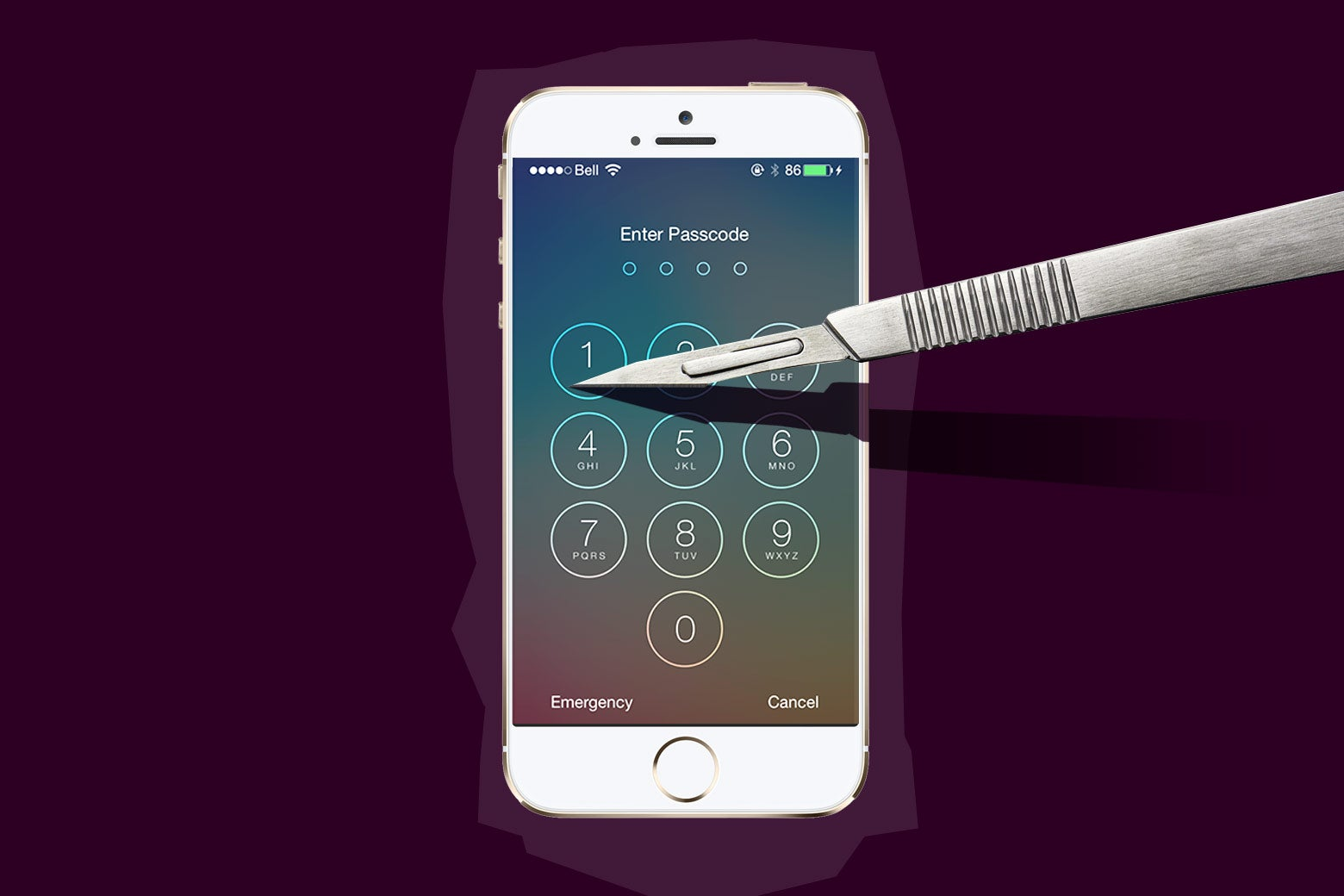 Scalpel and iPhone unlock screen.