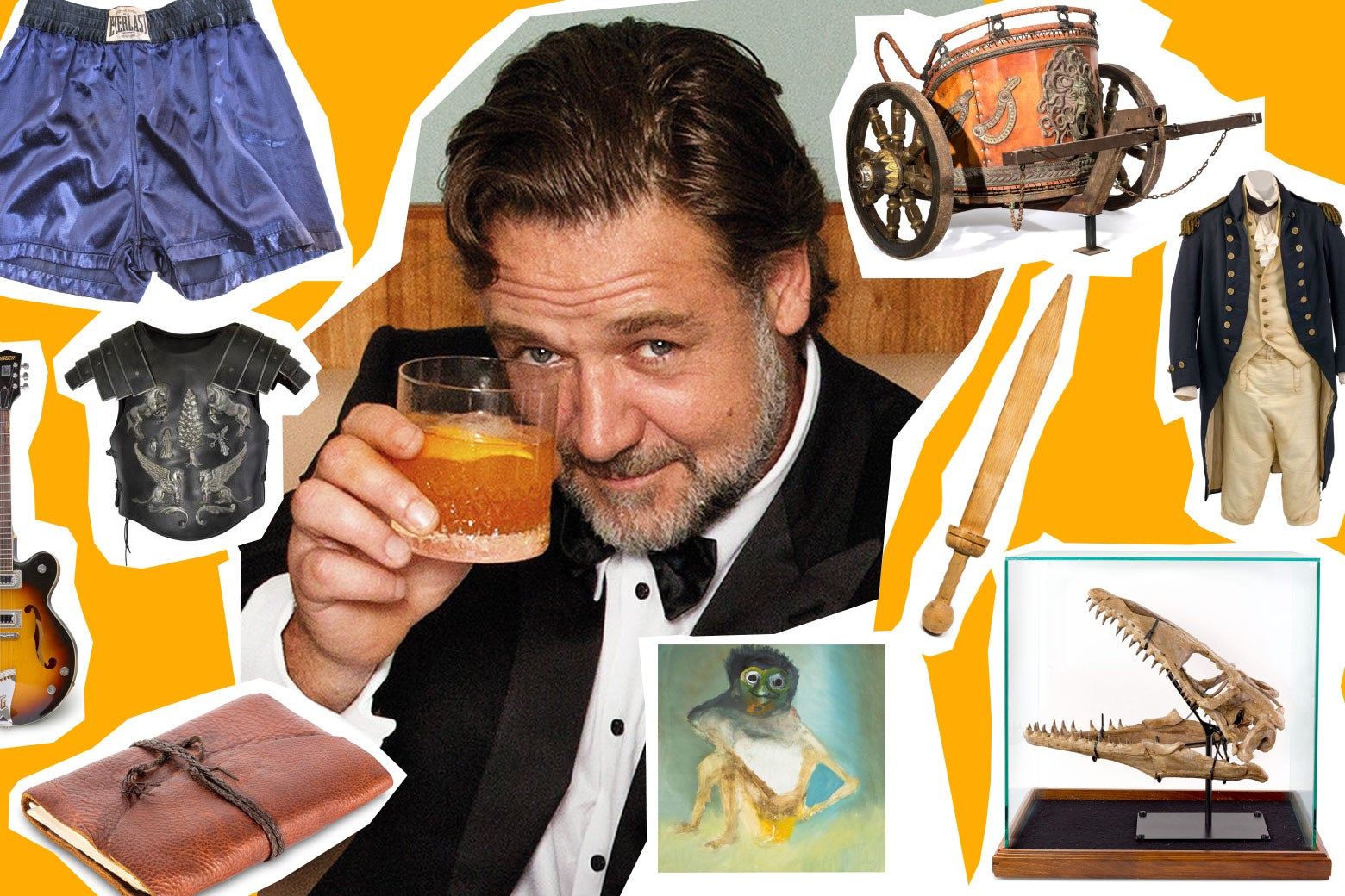 Photo illustration: a cutout photo of Russell Crowe amongst photos of the items for sale in his divorce auction.
