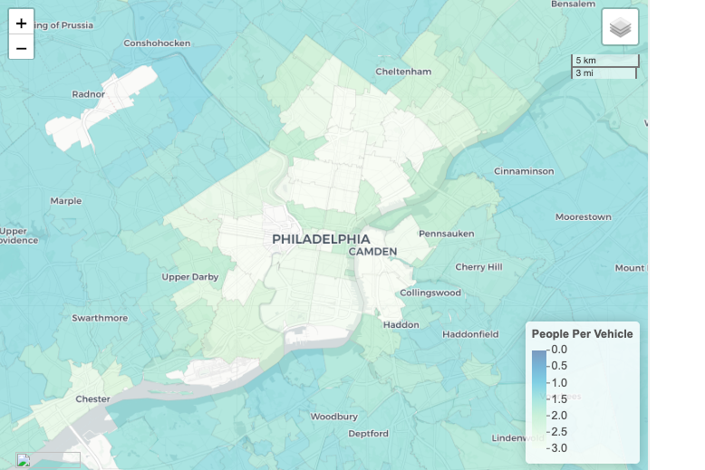 A map of Philadelphia by vehicle ownership per capita.