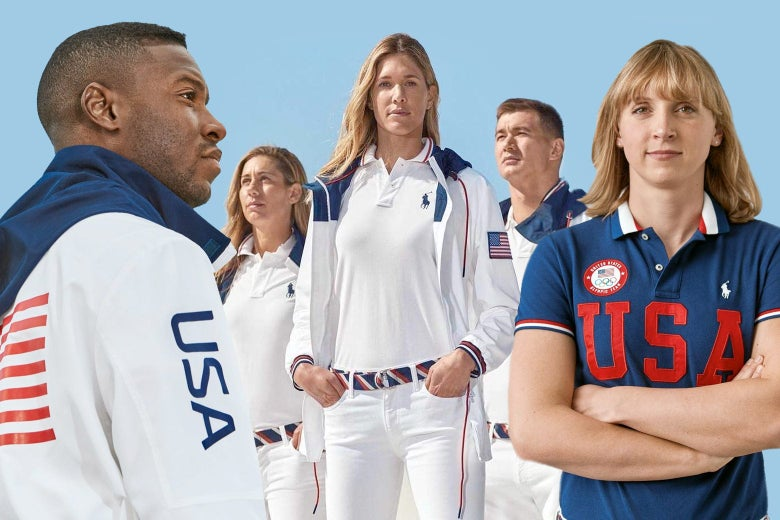 Five Olympic athletes modeling the Ralph Lauren outfits of windbreakers, polo shirts, and white jeans.