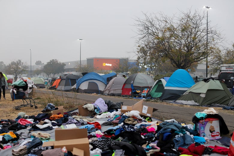 The tent encampment in the Walmart parking lot in Chico, California