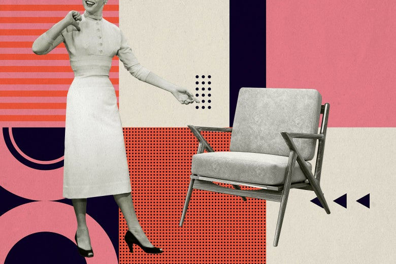 A white woman wearing pearls, a prim tight-waisted dress, and heels smiles and points at a midcentury modern chair against a colorful background of midcentury modern geometric patterns