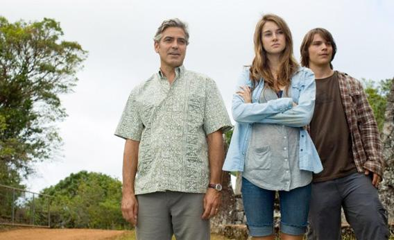 Still of George Clooney, Shailene Woodley and Nick Krause in The Descendants