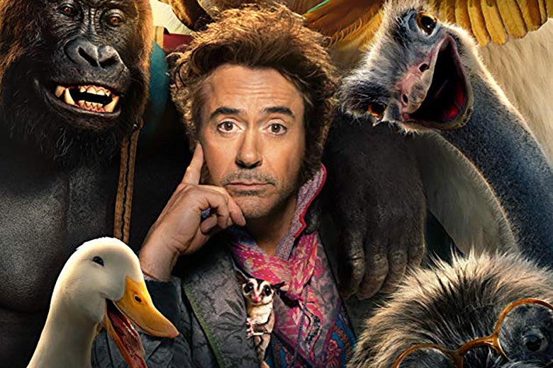 Robert Downey Jr., surrounded by animals, in a promotional image from Dolittle.