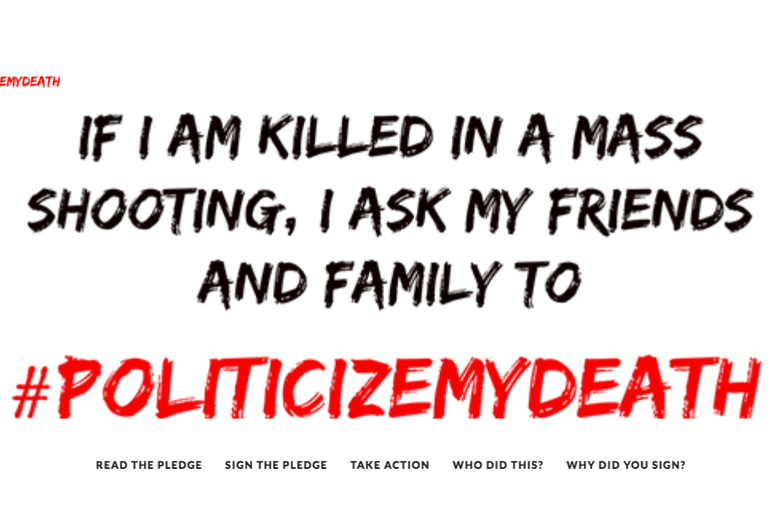 The Politicize My Death homepage.